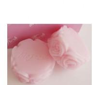 """Натуральное мыло ручной работы """"Цветок розы"""" (плоское круглое)."""