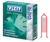 Презервативы VIZIT hi- tech 30% дольше с кольцевым рифлением и смазкой-анестетиком 3 шт.