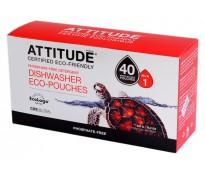 ATTITUDE Экологическое средство для мытья посуды в посудомоечной машине  Eco-Pouches (таблетки), 40 шт